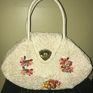 Vintage Large White Woven Sheared Grass Hand Bag